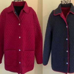 Red/Grey London Fog Quilted Reversible Coat Sz L